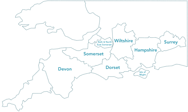 A map of our area of operation: Gloucestershire, Bath & North East Somerset, Wiltshire, Hampshire, Surrey, Dorset, Somerset, Isle of Wight and Devon.